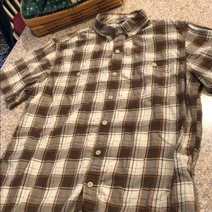 GH Bass Brown Tan Short Sleeve Button Down Shirt L